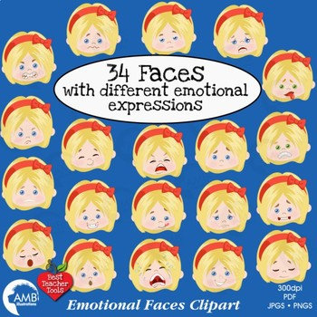 Emoji, Emoticons, Girl Faces, Feelings Clipart, AMB-2363