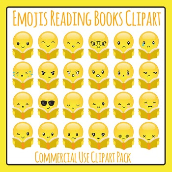 Emoji / Emoticons Reading Clip Art for Commercial Use - Emotions, Expressions
