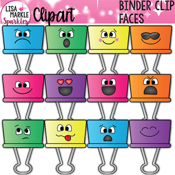 Binder Clip Clipart with Emoji Faces