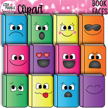 Book Clipart with Emoji Faces