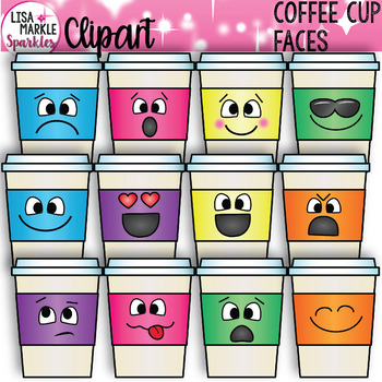 Coffee Clipart with Emoji Faces