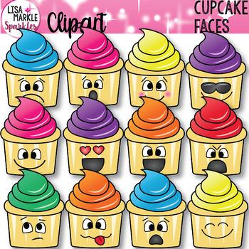 Emoji Emotion Cupcake Faces Clipart