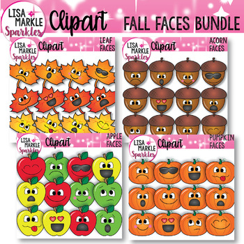 Emoji Emotion Faces Fall Maple Leaf Acorn Apple Pumpkin Clipart BUNDLE