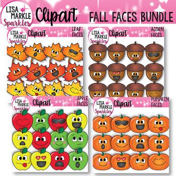Emoji Emotion Faces Fall Maple Leaf Acorn Apple Pumpkin Clipart BUNDLE