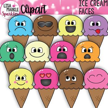 Emoji Emotion Faces Ice Cream Clipart