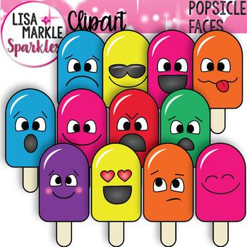 Emoji Emotion Faces Popsicle Clipart