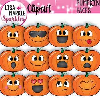 Emoji Emotion Faces Pumpkin Clipart
