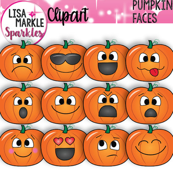 Emoji Emotion Faces Pumpkin Clipart
