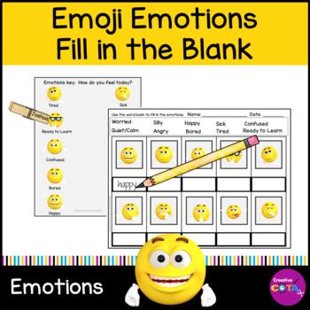 Emoji Emotion Fill in the Blank worksheet