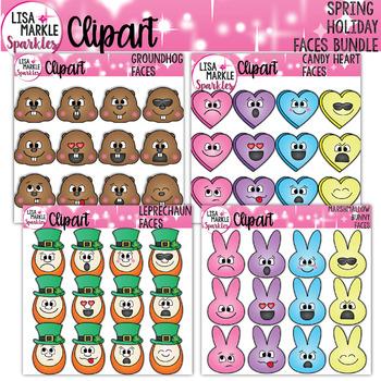Emoji Emotion Groundhog Heart Leprechaun Bunny Clipart BUNDLE