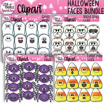 Emoji Emotion Halloween Candy Corn Ghost Sugar Skull Spider Clipart BUNDLE
