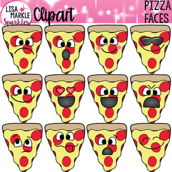 Emoji Emotion Pizza Faces Clipart
