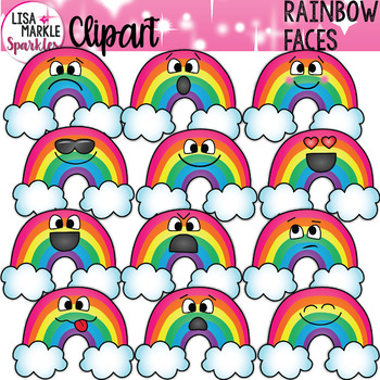 Emoji Emotion Rainbow Faces Clipart