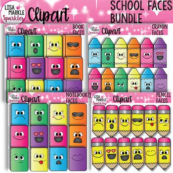 Crayon Pencil Book Notebook Clipart with Emoji Faces BUNDLE