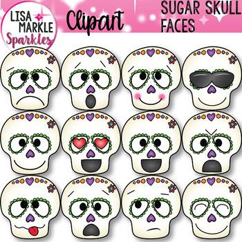 Emoji Emotion Sugar Skull Faces Clipart Halloween Day of the Dead