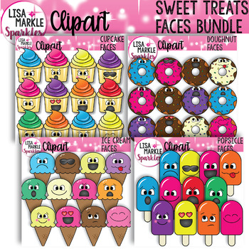 Emoji Emotion Doughnut Cupcake Ice Cream Popsicle Faces Clipart BUNDLE