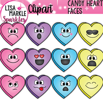 Emoji Emotion Valentine's Day Candy Heart Faces Clipart