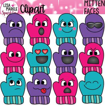 Emoji Emotion Winter Mitten Clipart
