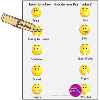 Emoji Emotions Key and or classroom check-in