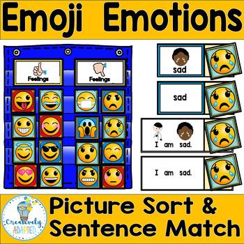 Emoji Emotions Vocabulary Sort/Sentence Match (PreK-2/SPED/ELL)
