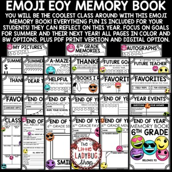 Emoji End of The Year Activities 6th Grade Memory Book