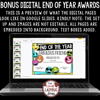 Emoji End of the Year Awards- Editable Certificates
