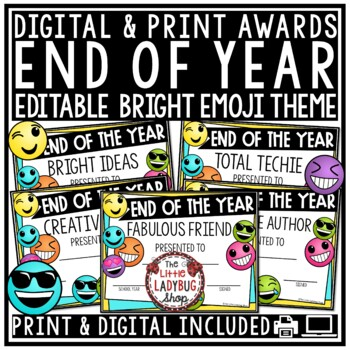 Emoji Theme End of Year Awards EDITABLE & End of Year Certificates Emoji Awards