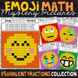 Emoji Equivalent Fractions Mystery Pictures | Fractions Color by Number