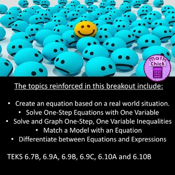 Emoji Escape! Digital Breakout Expressions, Equations & Inequalities Escape Room