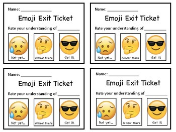 Emoji Exit Ticket (FRENCH AND ENGLISH)