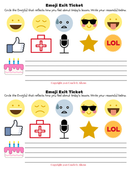 Emoji Exit Ticket/Slips for Daily Lessons