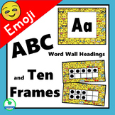 Emoji Feelings ABC Word Wall Labels & Ten Frames - EDITABLE Decor