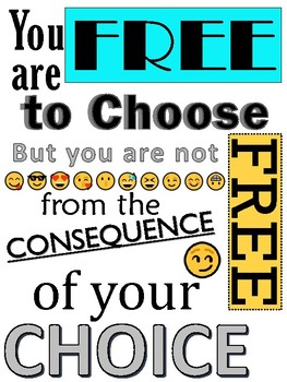Emoji Free To Choose Quote Poster Pdf By The Teaching Trunk