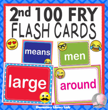EMOJI Fry Second 2nd 100 Sight Words Flash Cards, Letters and Numbers