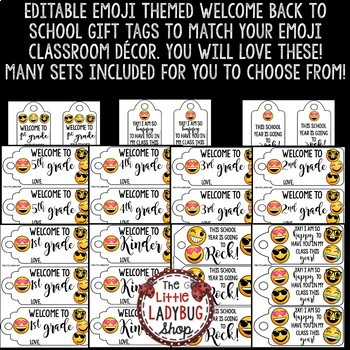 Emoji Theme Gift Tags Back to School & Welcome Note for Students EDITABLE