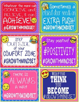 Emoji Growth Mindset #Hashtag Notes Cards - 30 Different Cards