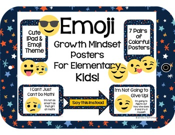 Emoji Growth Mindset Posters for the Elementary Classroom