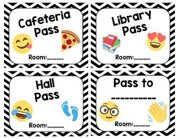 Emoji Hall Pass Set Editable