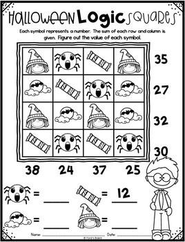 Emoji Halloween Math Logic Puzzles