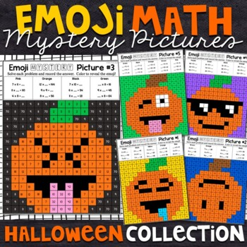 Emoji Fall or Halloween Mystery Pictures - Multiplication and Division