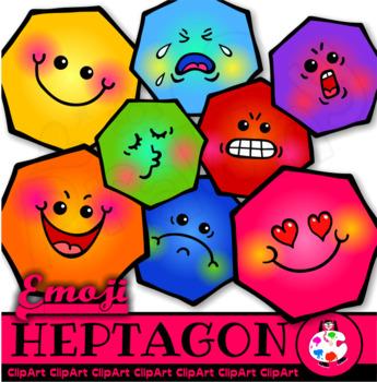 Emoji Heptagon Math Shapes - Geometry Clip Art