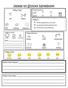 Emoji Home to School Communication Page