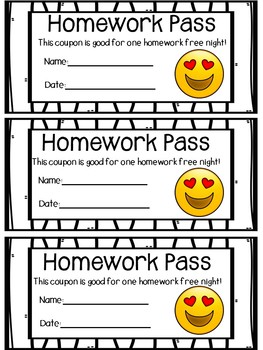 Emoji Homework Passes by Educating