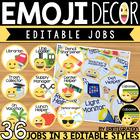 Emoji Classroom Decor: Editable Job Chart