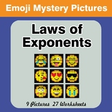 Emoji: Laws of Exponents - Math Mystery Pictures / Color B