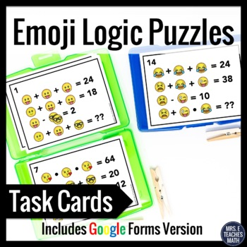 Emoji Logic Puzzles for Back to School or Sub Plans by Mrs E