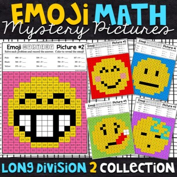 Emoji Long Division with Remainders Mystery Pictures
