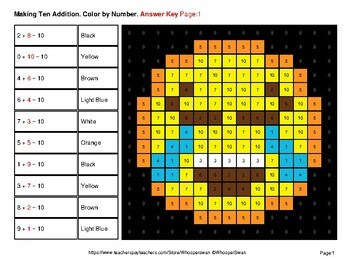Emoji: Making Ten Addition - Math Mystery Pictures / Color By Number