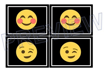 Emoji Themed Memory Matching Partner Cards (Black Series)