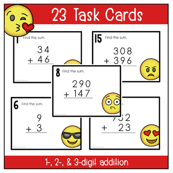 Emoji Math: Addition Task Cards with 1, 2, & 3 digit addends